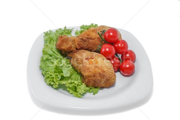 Stukken kip plaat sla tomaten Stockfoto © fogen