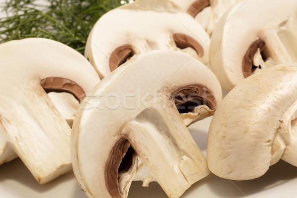 Champignon mantar plaka kesmek Stok fotoğraf © fogen