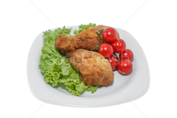 Benen stukken plaat sla tomaten Stockfoto © fogen