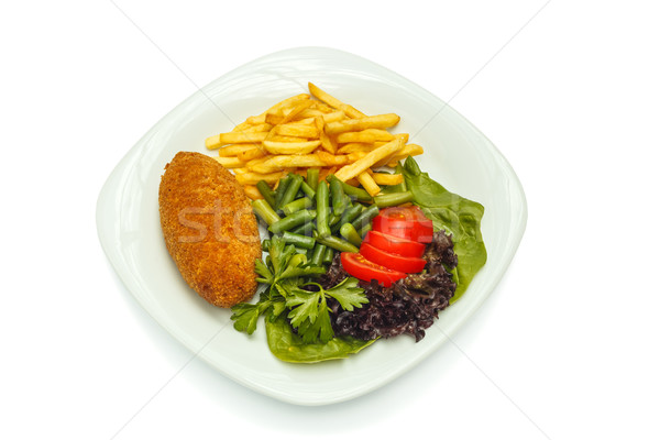 chicken cutlet with vegetables and garnish Stock photo © fogen