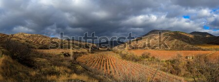 Sonbahar vadi dağlar gökyüzü çim manzara Stok fotoğraf © fogen
