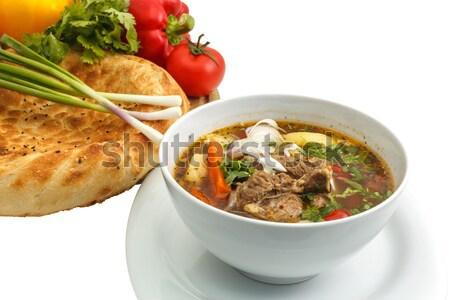 Soep brood groenten witte voedsel restaurant Stockfoto © fogen
