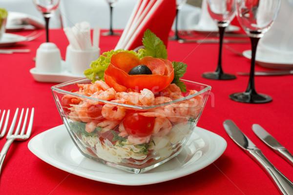 Salade groenten zeevruchten verse groenten tabel Stockfoto © fogen