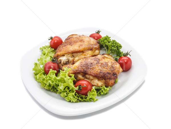 быстрого питания куриные жареная курица частей пластина помидоров Сток-фото © fogen