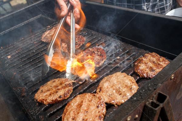Stock fotó: Hús · hamburgerek · disznóhús · marhahús · főtt · tűz