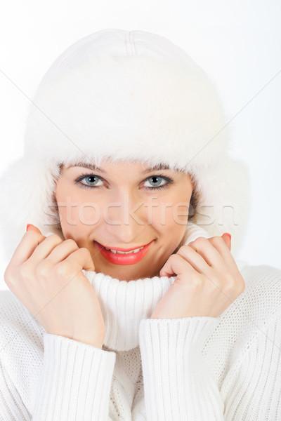 Portret mooi meisje glimlachend jong meisje poseren winter Stockfoto © fogen