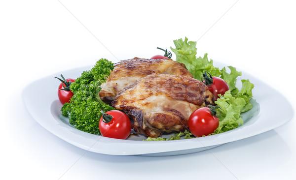 приготовленный куриные ног жареная курица частей пластина Сток-фото © fogen