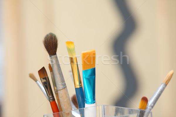 Farklı boyama fırçalamak hat Stok fotoğraf © fogen
