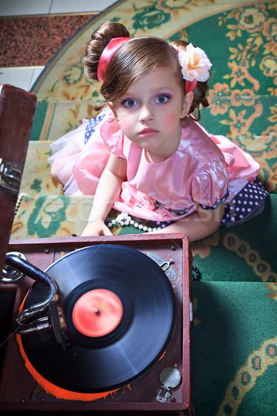 девушки розовый граммофон съемки виниловых Babe Сток-фото © fogen