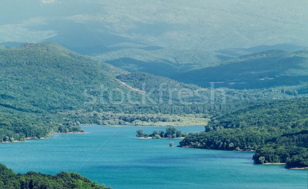 Dağ manzara mavi göl yüksek dağlar Stok fotoğraf © fogen