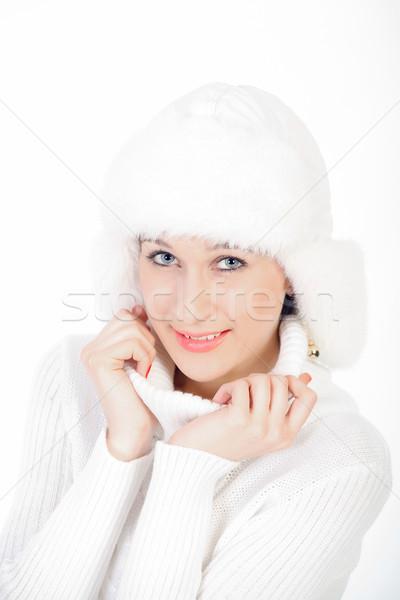 Portre güzel kız gülen genç kız poz kış Stok fotoğraf © fogen