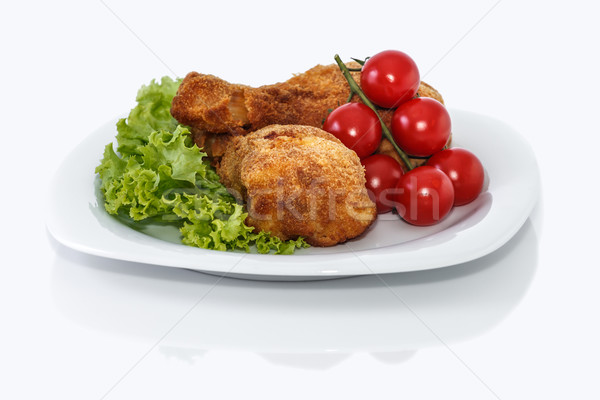 куриные ног жареная курица частей пластина салата Сток-фото © fogen