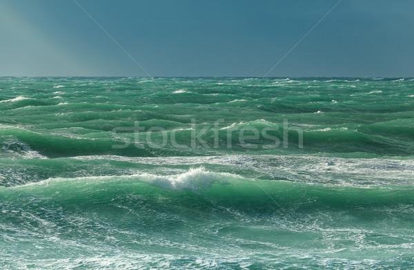 морем волны свет солнце Blue Sky Сток-фото © fogen