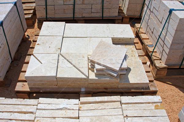 Calcário blocos pronto construção tijolo arquitetura Foto stock © fogen
