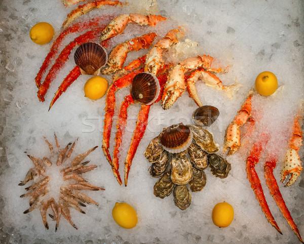 Deniz ürünleri buz balık pazar tepsi tip Stok fotoğraf © fogen