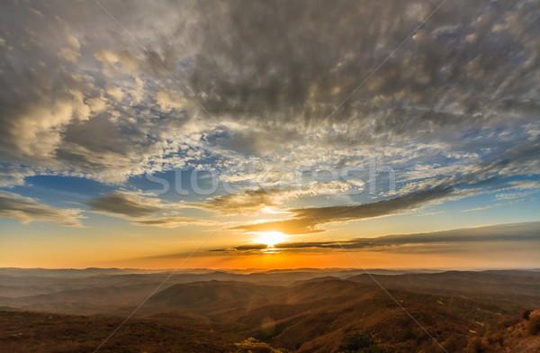 осень закат гор Панорама небе Сток-фото © fogen