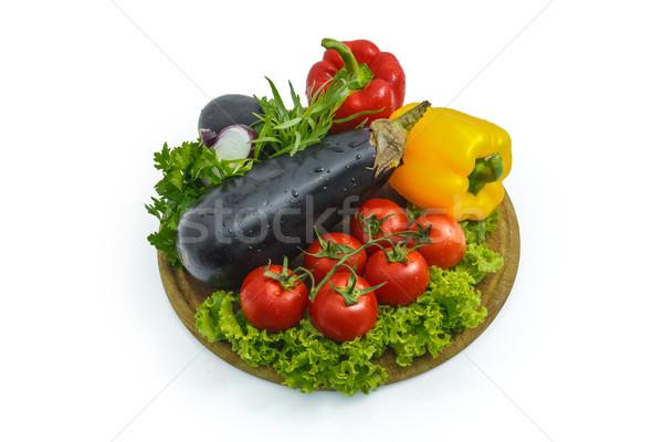 Taze sebze levha beyaz plastik gıda Stok fotoğraf © fogen