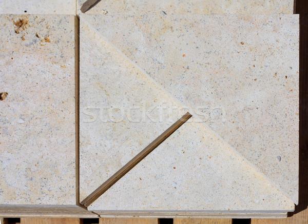 Kalksteen blokken klaar baksteen architectuur natuurlijke Stockfoto © fogen