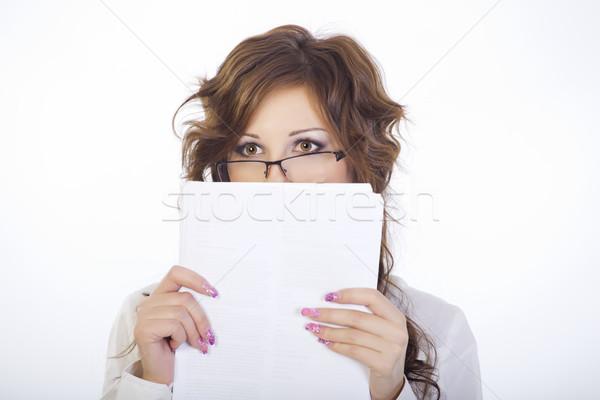 Lány szemüveg portré fehér egyéni iratok Stock fotó © fogen