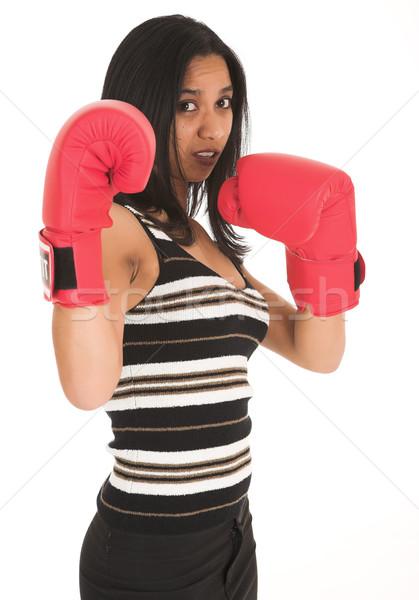 Afryki kobieta interesu czerwony rękawice bokserskie metafora Zdjęcia stock © Forgiss
