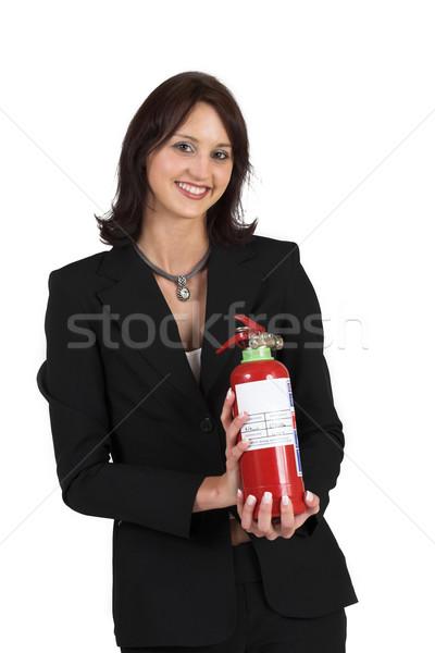 14 business woman formalny czarny garnitur gaśnica Zdjęcia stock © Forgiss