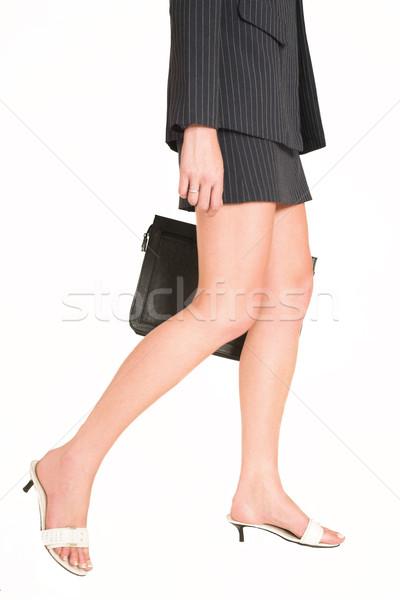 19 üzletasszony sétál tart bőr bőrönd Stock fotó © Forgiss