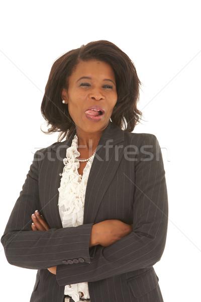 Belle africaine femme d'affaires cheveux courts costume noir blanche Photo stock © Forgiss