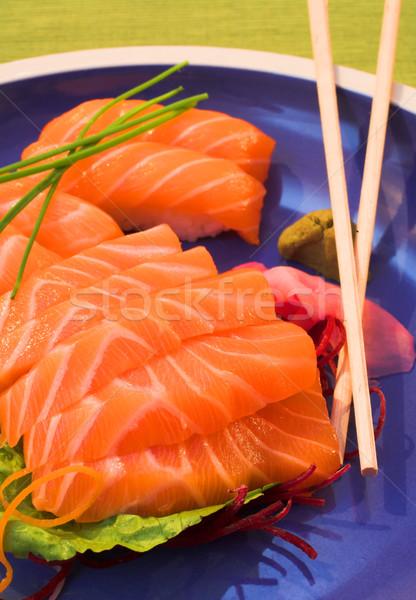 świeże norweski łososia sashimi ryżu Zdjęcia stock © Forgiss