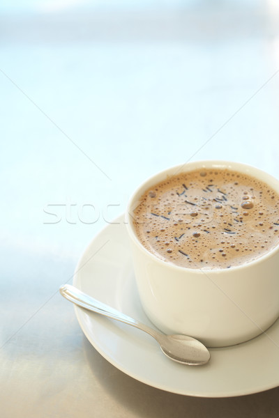 Cafe koffiekopje vers schuimend witte zilver Stockfoto © Forgiss