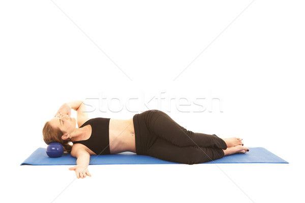 Pilates exercice s'adapter jeunes brunette instructeur Photo stock © Forgiss