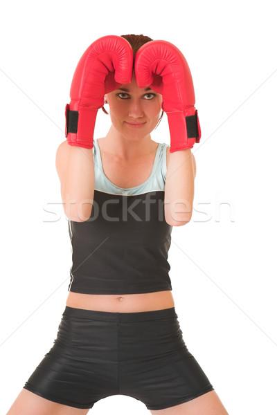 Сток-фото: спортзал · женщину · боксерские · перчатки · глядя · дружественный