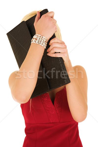 блондинка деловая женщина сокрытие за папке молодые Сток-фото © Forgiss