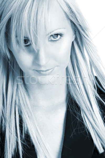 Femme d'affaires blond noir pantalon shirt bleu Photo stock © Forgiss
