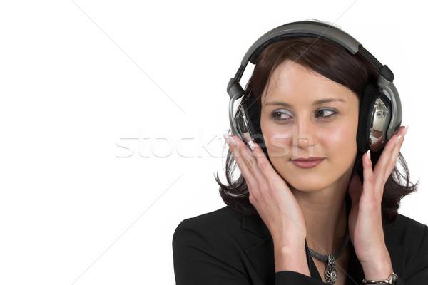 Business woman formalny czarny garnitur słuchawki głowie kopia przestrzeń Zdjęcia stock © Forgiss