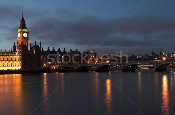 Foto stock: Big · Ben · casa · parlamento · pôr · do · sol · rio
