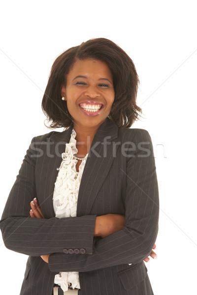 Belo africano empresária cabelo curto terno preto branco Foto stock © Forgiss