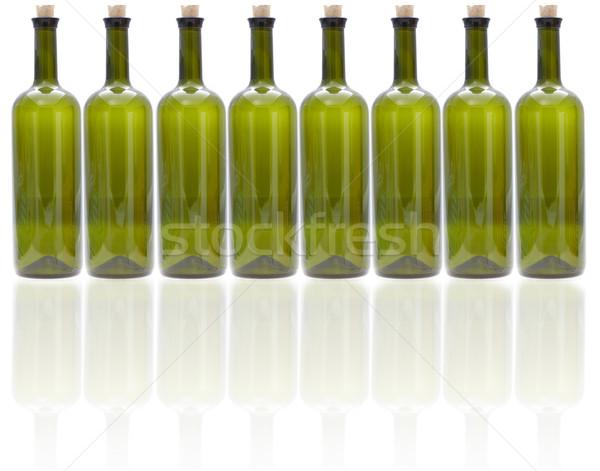 Stockfoto: Glas · wijn · flessen · rij · lege · groene