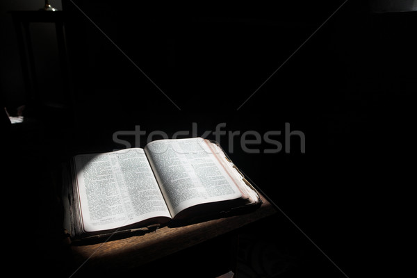 Open bible lying on a table Stock photo © Forgiss
