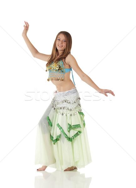 Jonge buik dansen meisje kaukasisch mooie Stockfoto © Forgiss