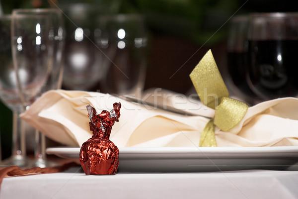 Süßwaren süß Tabelle Glas rot Süßigkeiten Stock foto © Forgiss