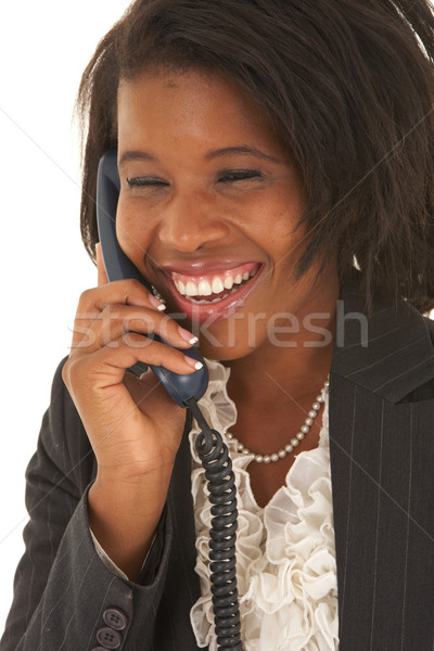Mooie afrikaanse zakenvrouw portret jonge praten Stockfoto © Forgiss