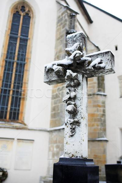 Mezarlık kapalı kar bo soğuk mezar Stok fotoğraf © Forgiss