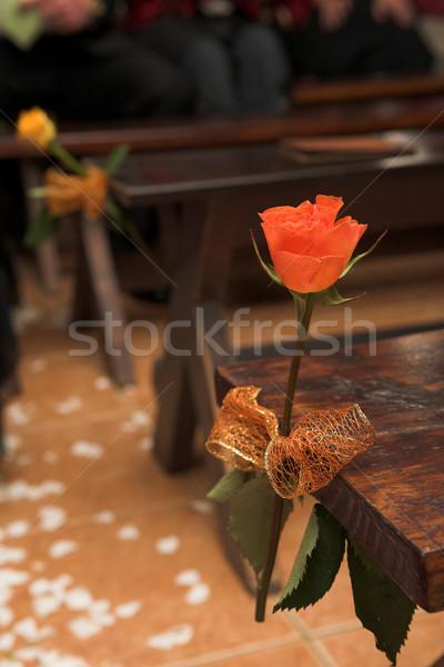 Virág esküvői fogadás egy virág díszítések esküvői ceremónia sekély Stock fotó © Forgiss