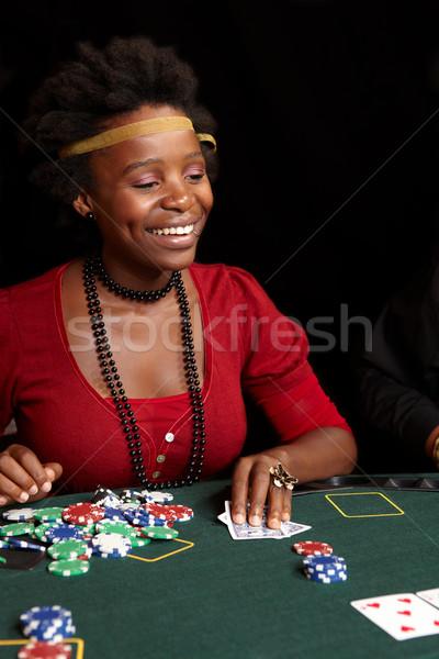 Cartão jogos de azar africano mulher cartas de jogar batatas fritas Foto stock © Forgiss