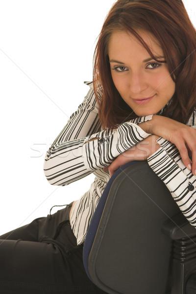 ストックフォト: ビジネス女性 · 茶色の髪 · 白 · シャツ · 黒
