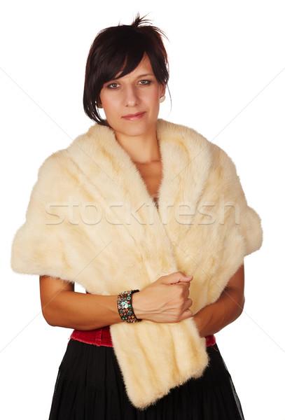Mooie vrouw mooie kaukasisch vrouw rode lippen Stockfoto © Forgiss
