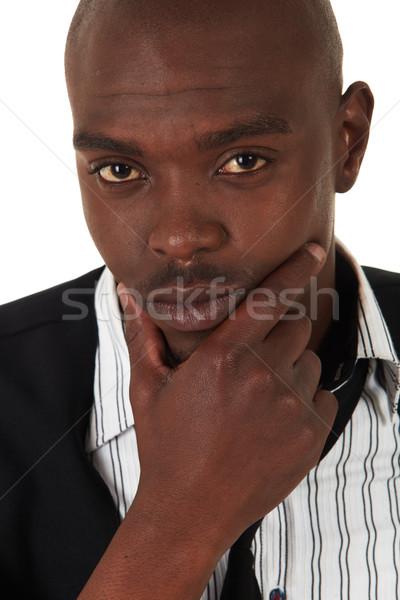 Fiatal afrikai üzletember fekete ruházat fehér Stock fotó © Forgiss