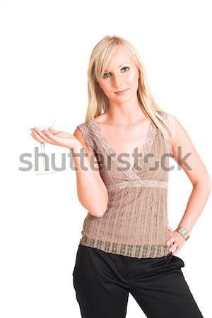 деловой женщины черный брюки бежевый рубашку Сток-фото © Forgiss