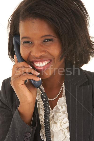 Belle africaine femme d'affaires portrait jeunes parler Photo stock © Forgiss
