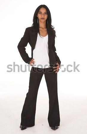 African imprenditrice casuale ufficio pantaloni neri Foto d'archivio © Forgiss